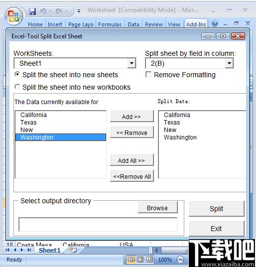 Split Worksheet(Excel拆分插件)