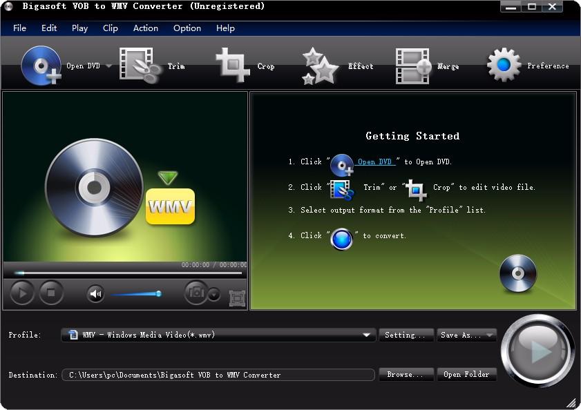 Bigasoft VOB to WMV Converter設置中文的方法