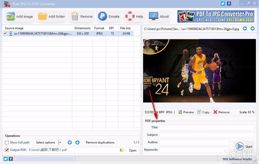 Free JPG To PDF Converter(免費JPG轉PDF轉換器)